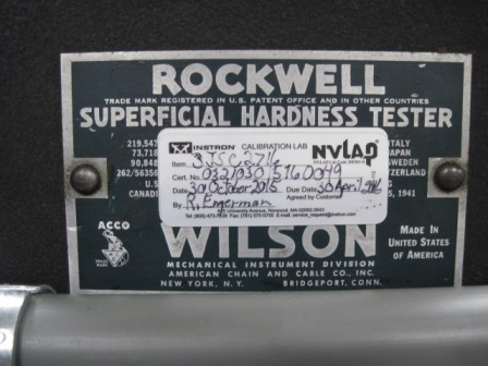 Hardness Tester, Wilson Rockwell, 3JS,approximately 9 Vertical Capacity, 5 1/4 Throat,150 LBS., Calibrated Oct 2015